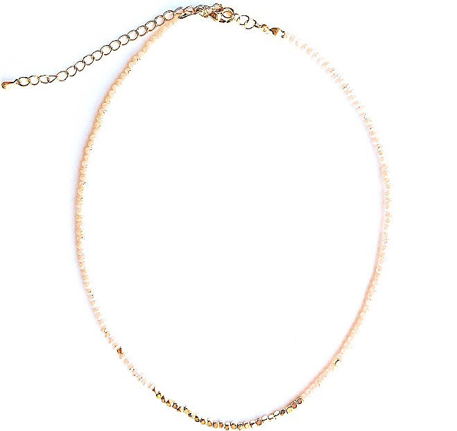 Peach and Gold Beaded Choker Necklace