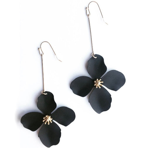 Black Matte Colored Flower Drop Earrings