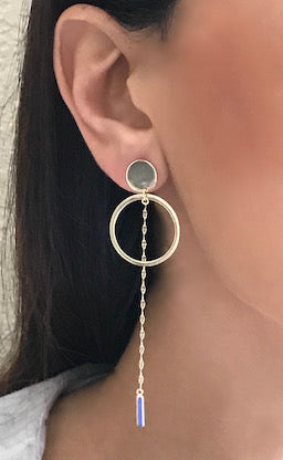 Hoop and Chain Gold Vermeil Earrings