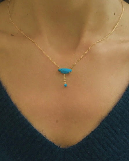 Gold Vermeil and Turquoise Delicate Necklace