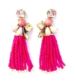 Fuchsia Beaded Tassel Statement Earrings