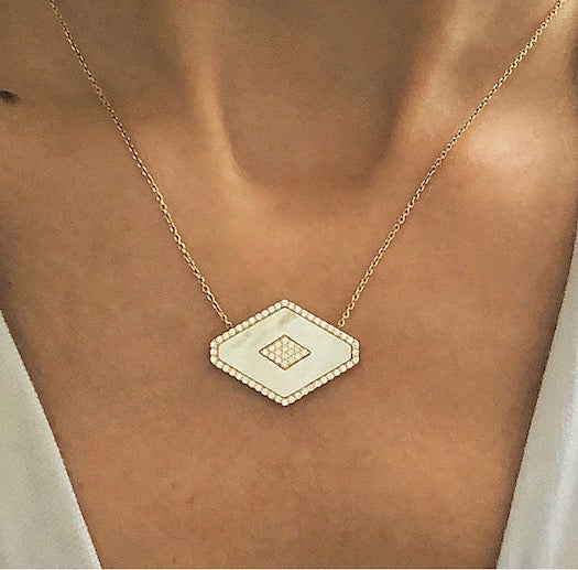 Gold Vermeil Mother of Pearl Encrusted Necklace