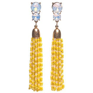 Yellow Beaded Tassel Earrings