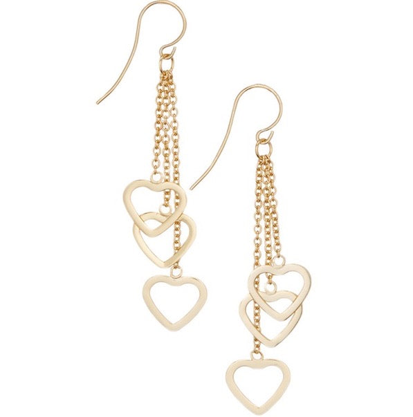 Gold Vermeil Dangling Hearts Earrings