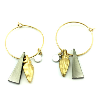 Gold-Plated Hoop Earrings with Dangling Charms