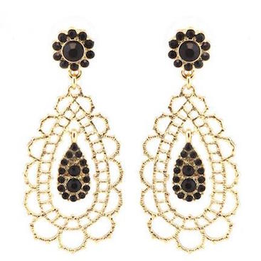 Floral Gold-Plated Drop Earrings