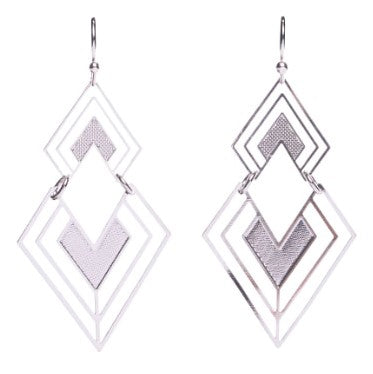 Silver-Plated Geometric Dangles