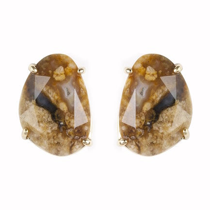 Semi Precious Natural Stone Brown Studs