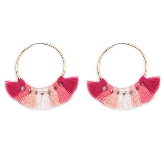 Pink Tassel Hoop Earrings