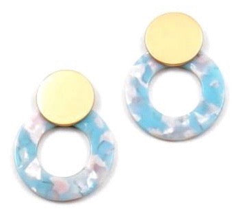 Blue Celluloid Statement Studs