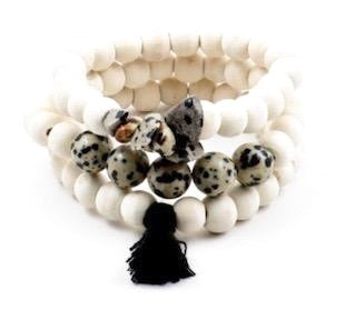 White/Black Stackable Bracelets With Black Tassel