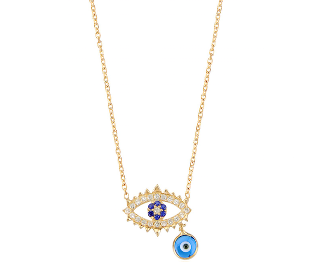 Evil Eye with Dangling Evil Eye Bead Gold Vermeil Necklace