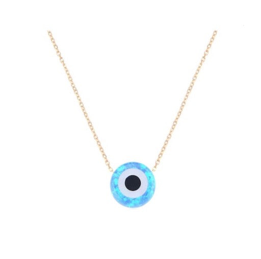 Blue Opal-Like Gold Vermeil Circle Evil Eye Necklace