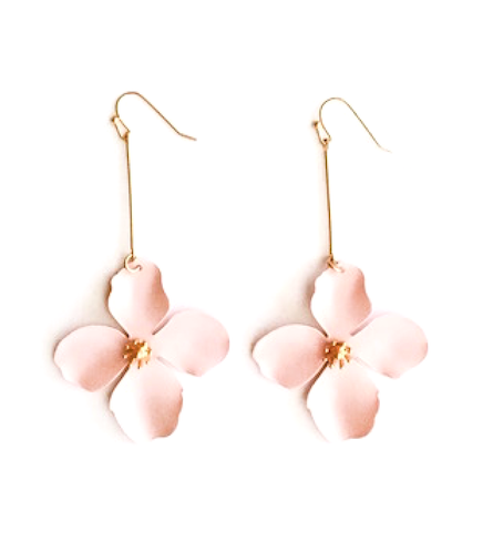Light Pink Matte Flower Drop Earrings