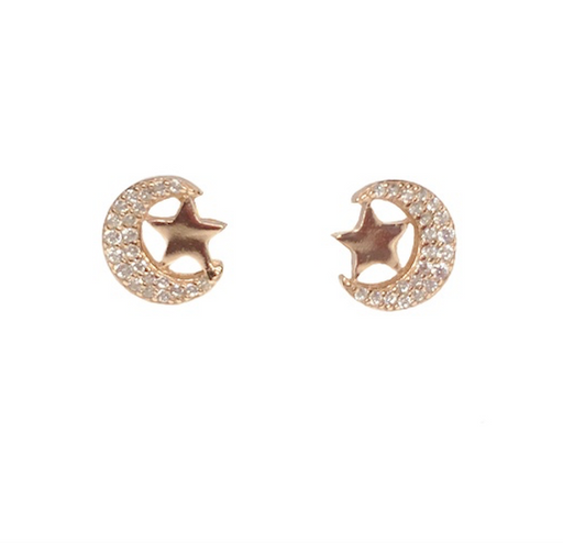 Rose Gold Vermeil Crescent Moon and Star Studs
