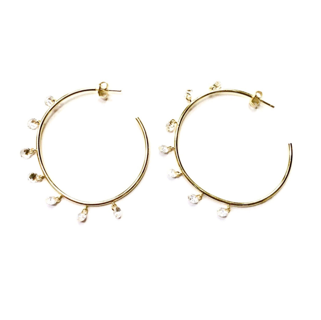 Medium-Sized Gold Vermeil Hoop Earrings With Dangling Crystal Charms