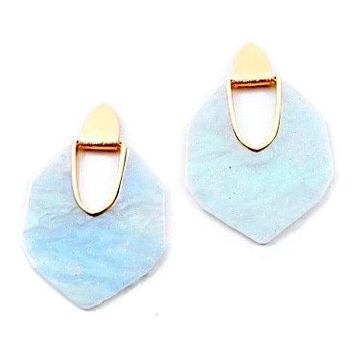 Resin light blue & gray glitter statement earrings