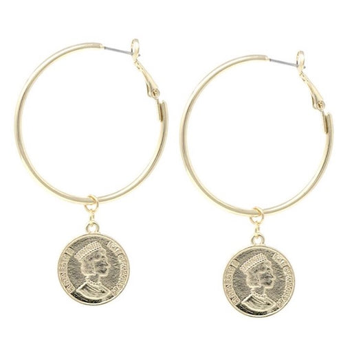 Coin Drop Hoop Earrings