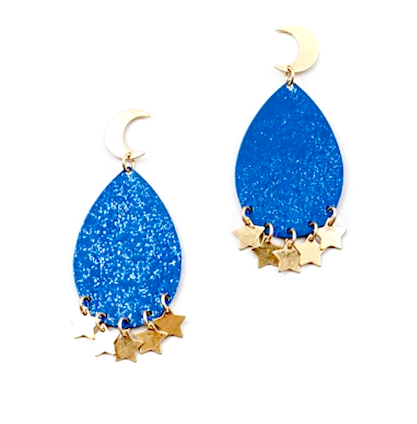 gold moon and star blue statement earrings