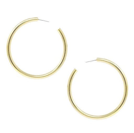 Plain basic gold metal hoop earrings