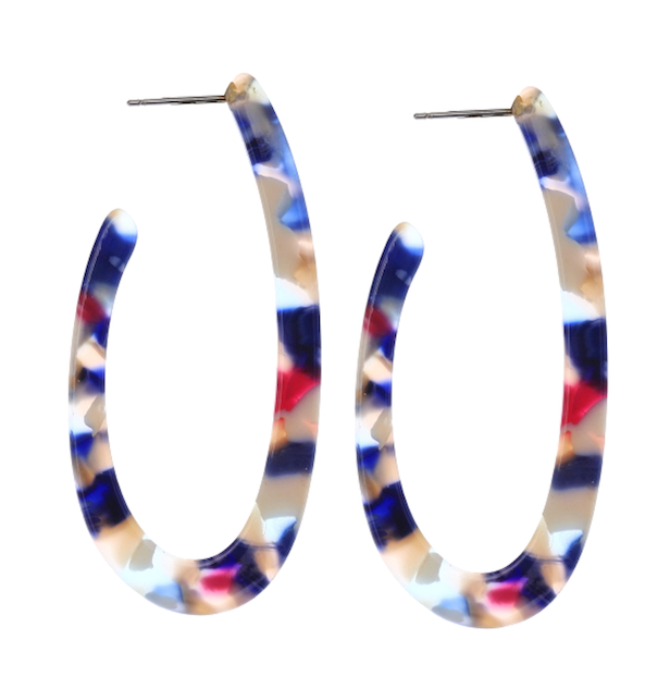 geometric resin oval hoop earrings