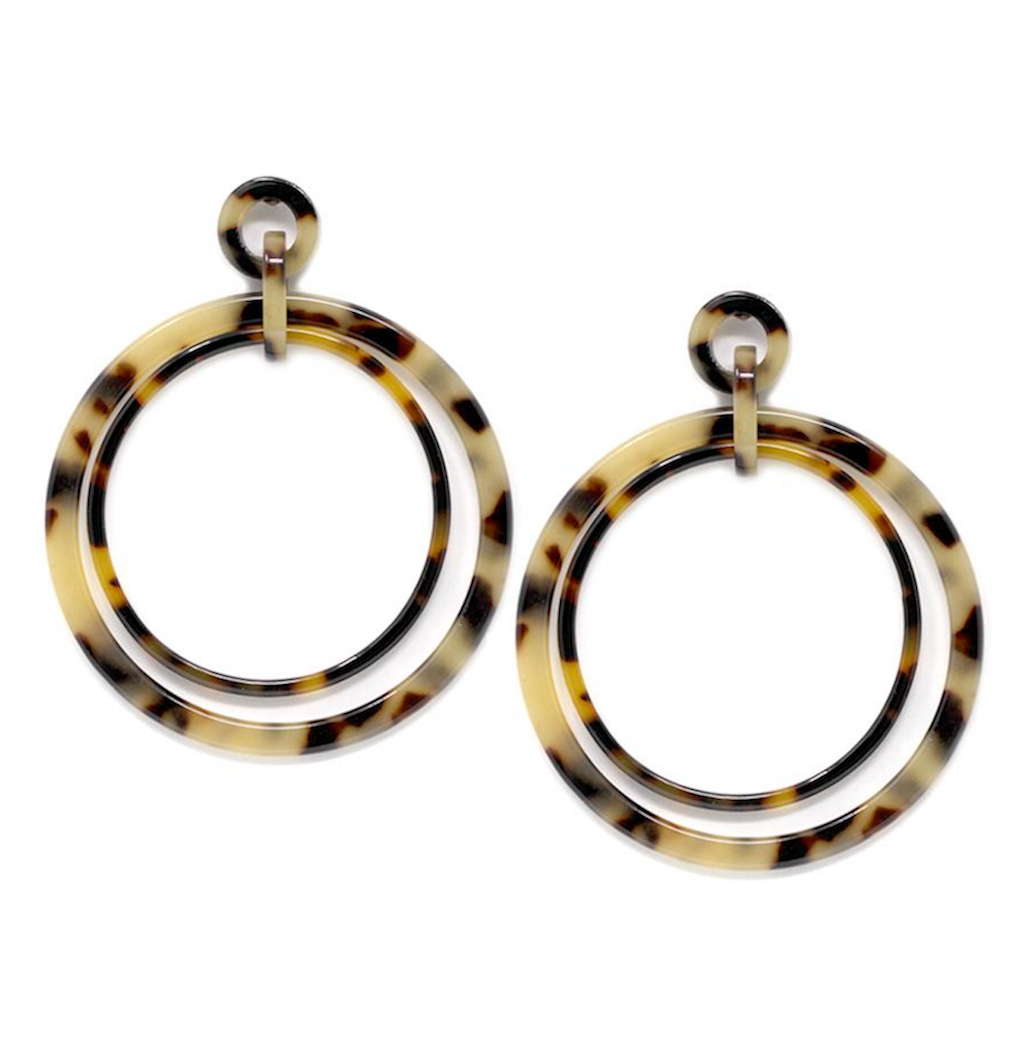 Double Hoop Resin Drop Earrings