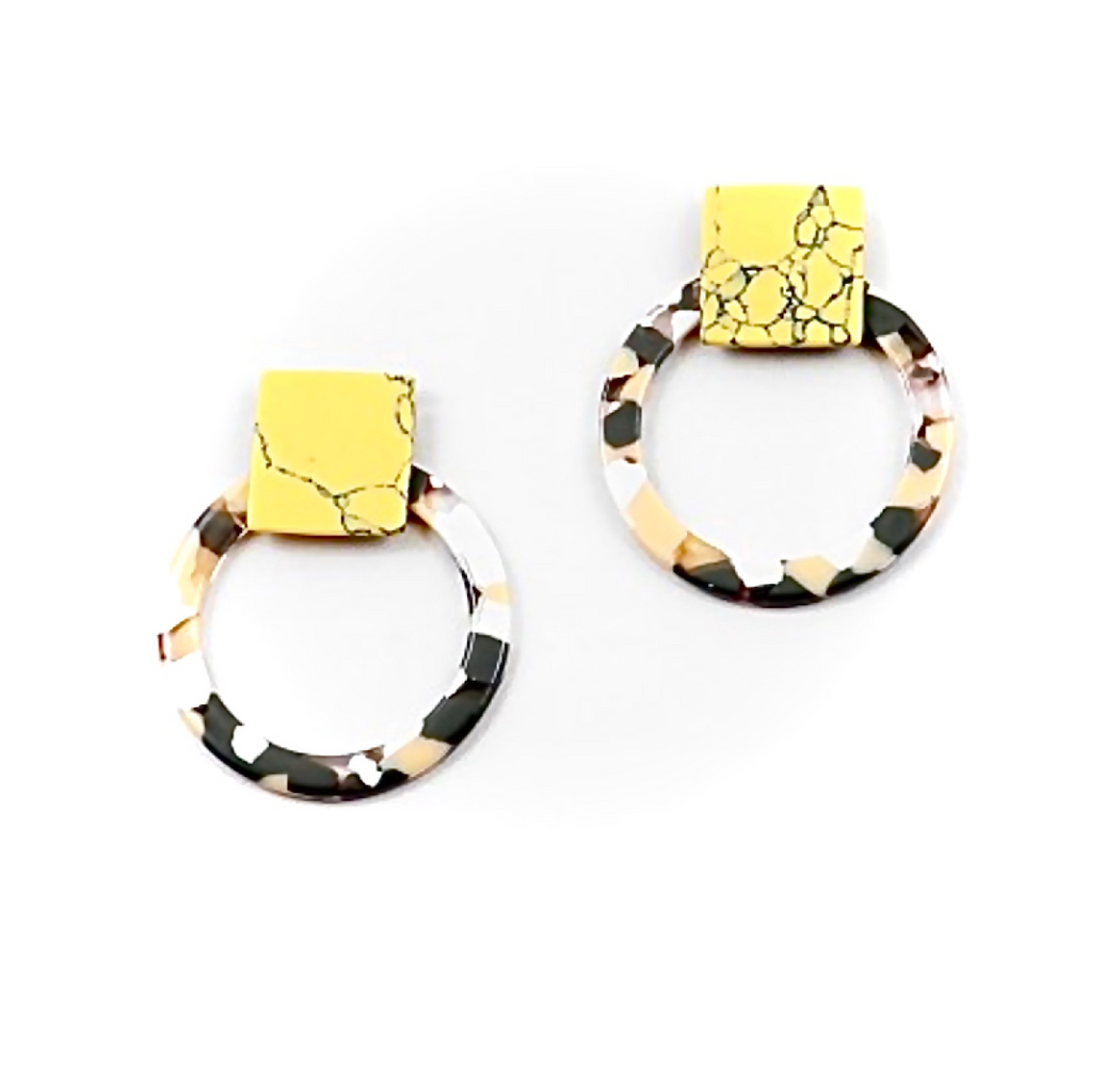 yellow circle resin plastic hoop earrings