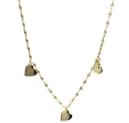 Three Dangling Hearts Gold Vermeil Necklace