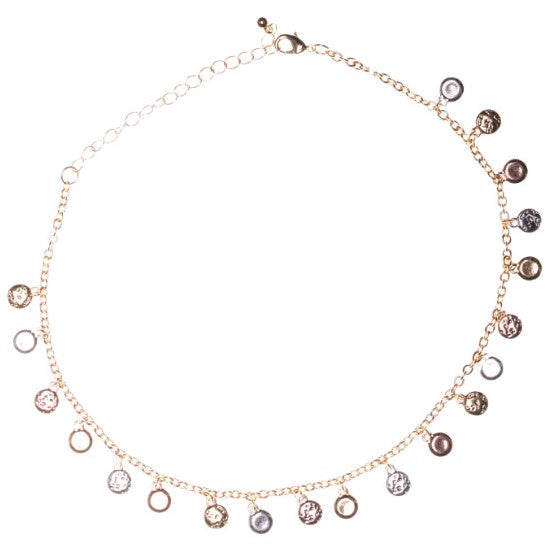 Choker Necklace With Tri-Tone Metal Charms