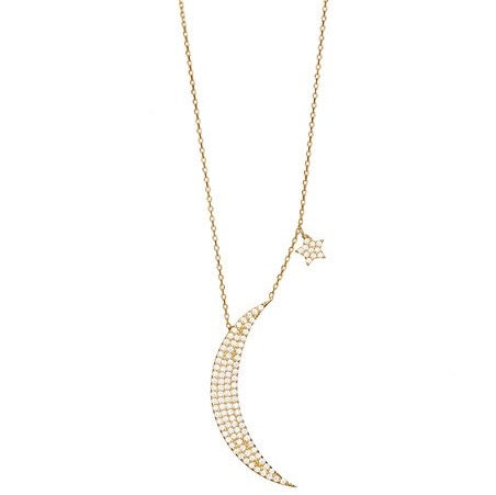 Encrusted Crescent Moon and Star Gold Vermeil Necklace