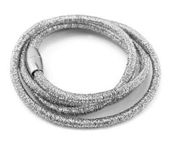 Silver-Plated Metal Coil Wrap Magnetic Bracelet