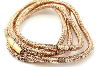 Rose Gold-Plated Coil Wrap Magnetic Bracelet