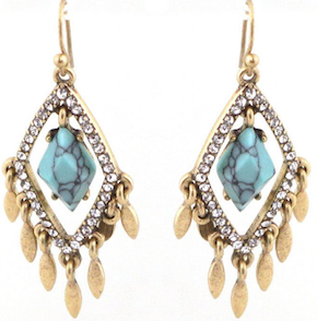 Glass Chandelier Earrings with Golden Charms