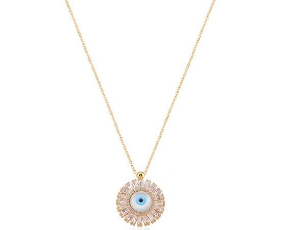 Circular Gold Vermeil Evil Eye Necklace with Baguettes
