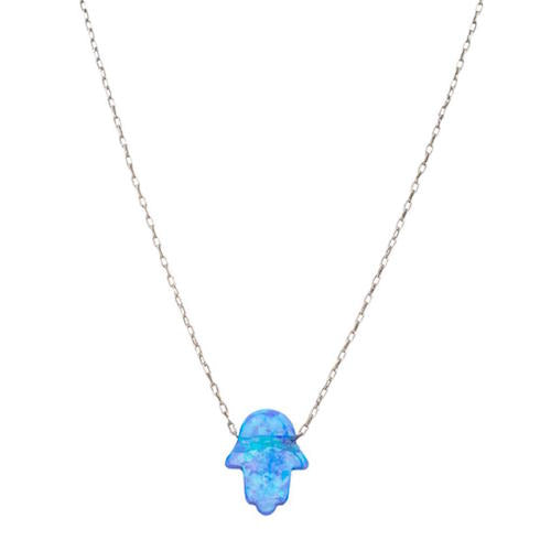 Sterling Silver Blue Opal-Like Hamsa Hand Necklace