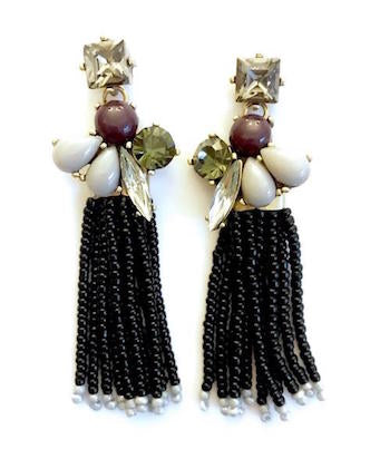 Jet Black Beaded Tassel Statement Earrings