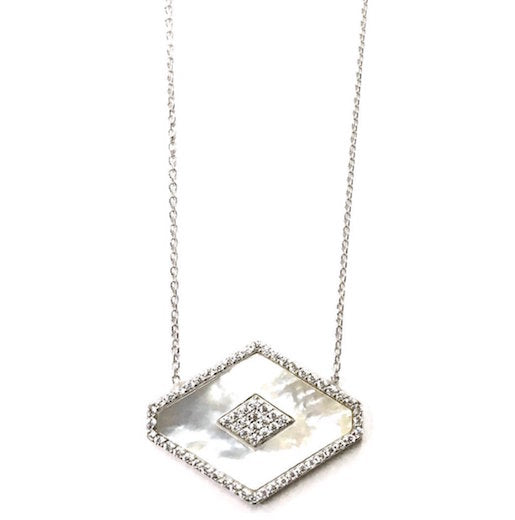 Sterling Silver Mother of Pearl Encrusted Necklace