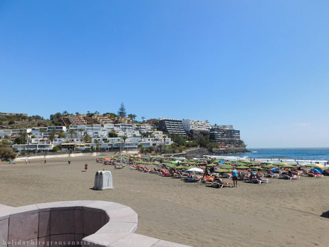 sandy beach in San Agustin in Gran Canaria with landscape for mountain in San Agustin