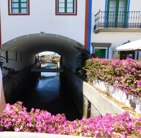 Mogan as a Venice with canals and a lot of flowers in Gran Canaria in Canary Islands