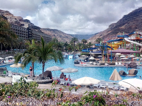 Turito water park and view on hills with apartments in Gran Canaria