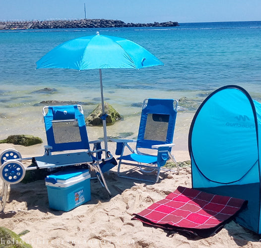 Beach bundle: 2 chair, umbrella, tent. blanket, fride, beach cart