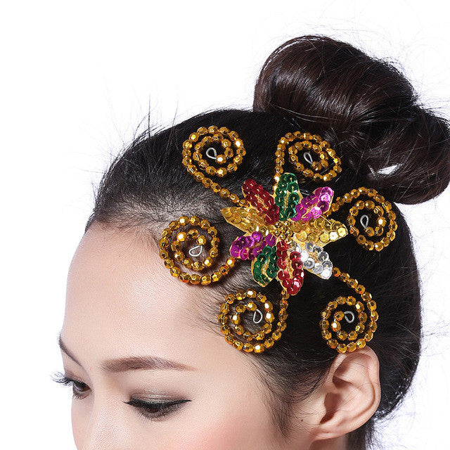 Sequins Flowerhead Headdress for Modern Dance