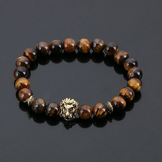 Gold Buddha Lion Head Lava Stone Beads Bracelet