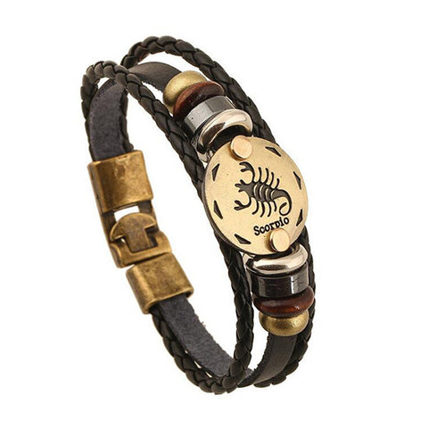 (Free Giveaway!) Leather Zodiac Bracelet