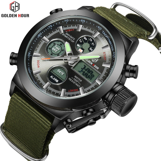 Mens LED Digital Military Watch Canvas Strap with Steel Case 30ATM Waterproof
