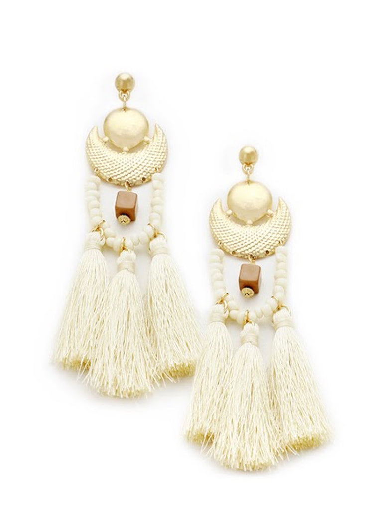 White Statement Tassel Earrings