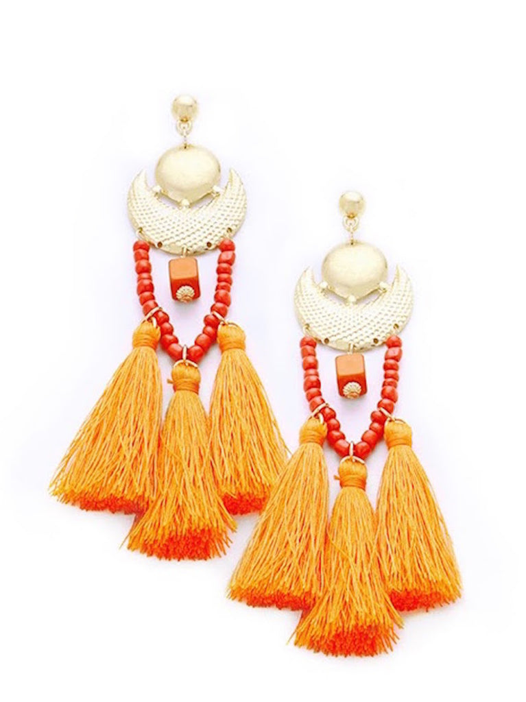 Orange Statement Tassel Earrings