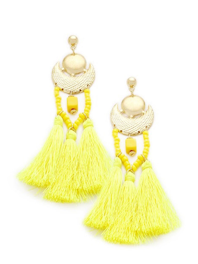 Yellow Statement Tassel Earrings