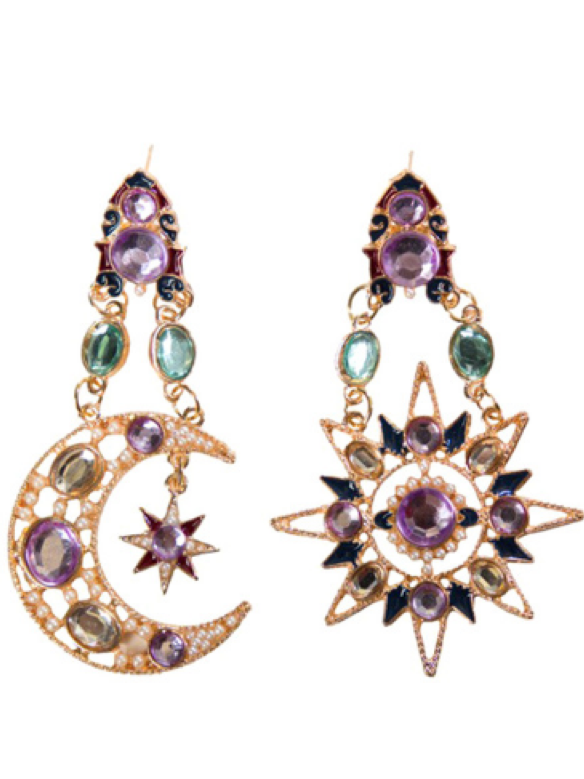 Asymmetric Celestial Drop Earrings
