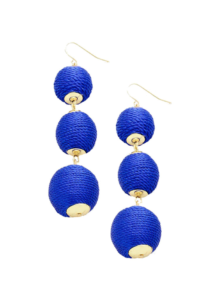 Blue Thread Wrapped Three-Ball Drop Earrings
